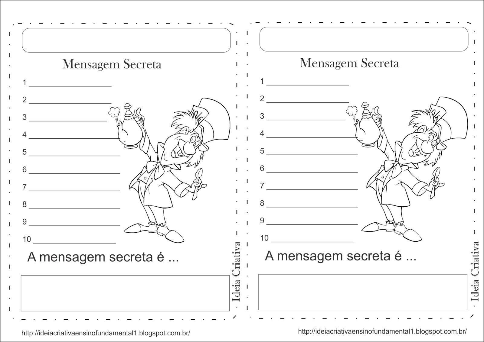 Atividade Formação de Frase Alice no País das Maravilhas Mensagem Secreta