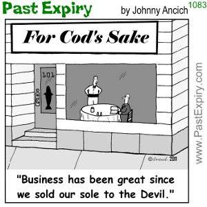 [CARTOON] Souls for Sale. cartoon, fish, food, pun, restaurant, business