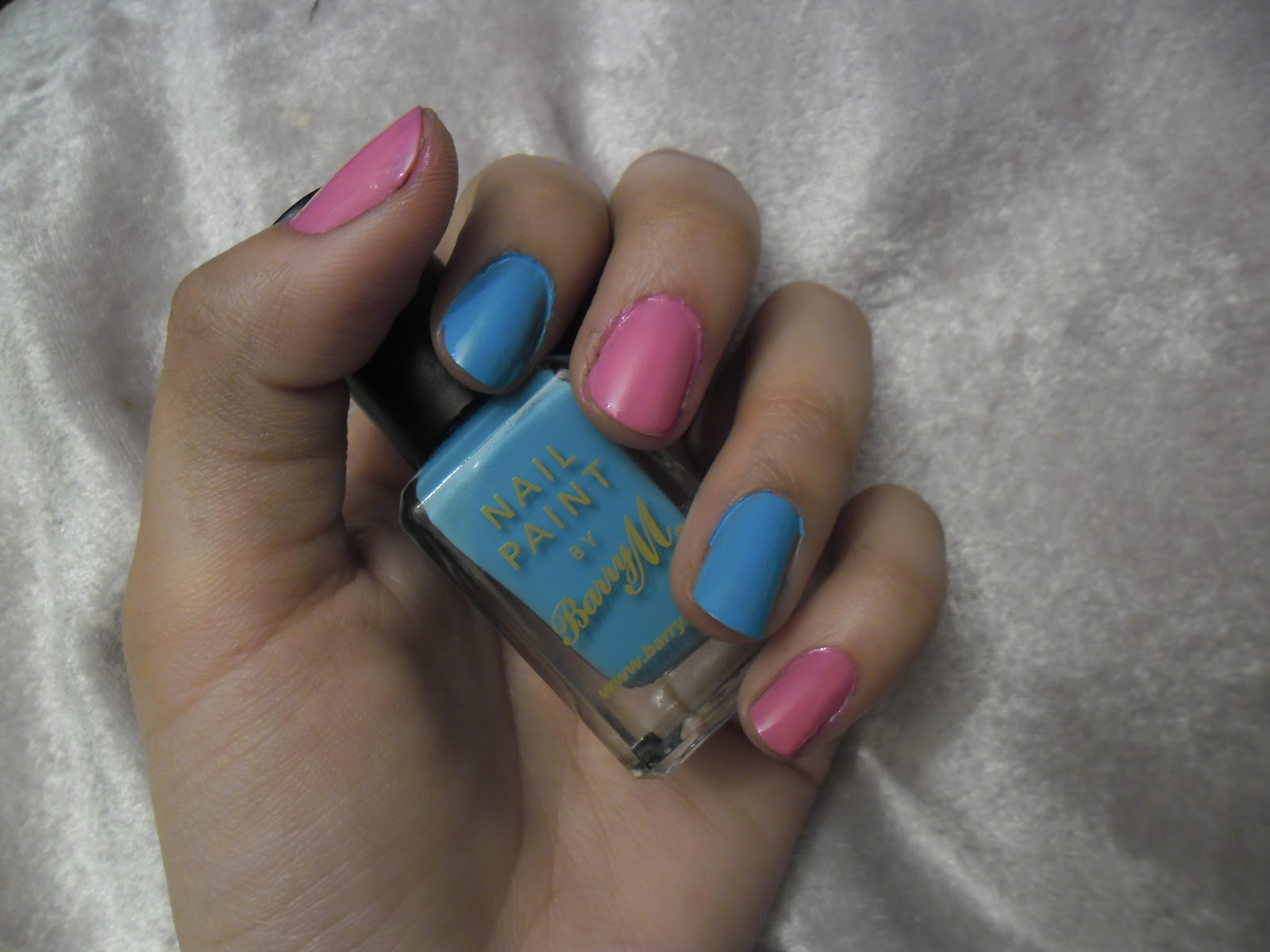 Nail art 3 block colour fashernably late ive chosen to do alternative nails in a barry m powder blue gosh baby pink but you can stick to one prinsesfo Image collections