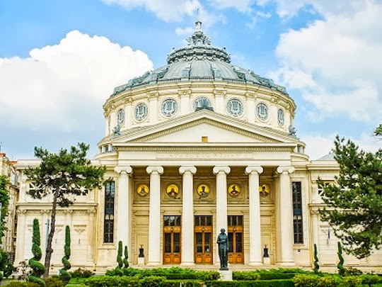 a photo of the Romanian Atheneum in Bucharest Romania