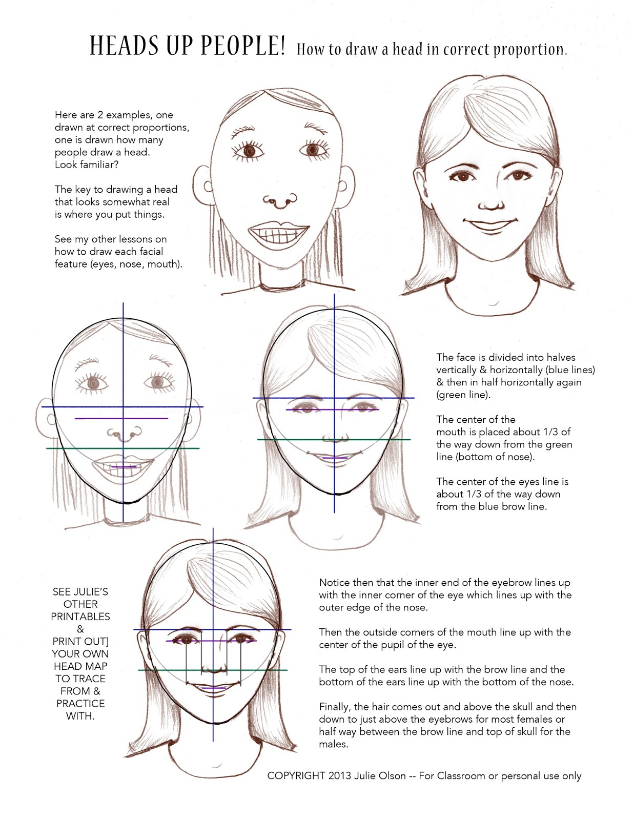 And draw facial proportions