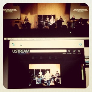 A photo of Ustream capturing video.