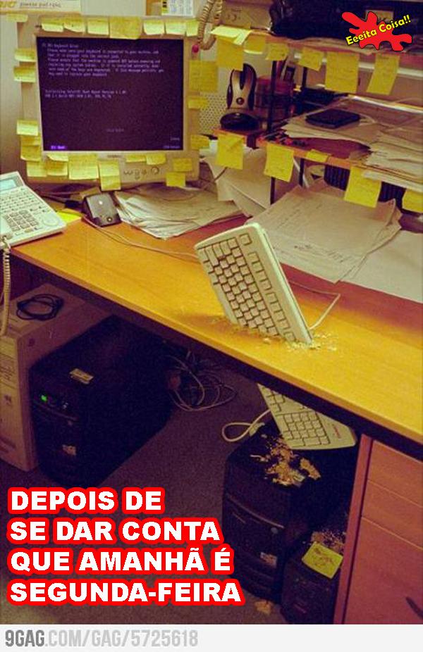 segunda feira, teclado, mesa, quebrado, eeeita coisa