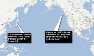 Ditemukan terapung-apung di laut di dekat britishcolumbia di kanada