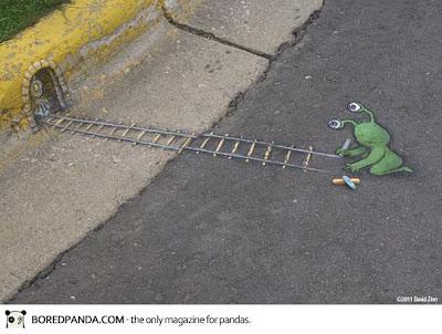 3 d paintings - david zinn - pavement street art