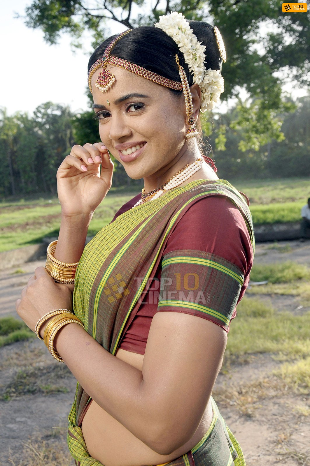 Sameera reddy light green saree -  Sameera Reddy's Traditional saree hot pics