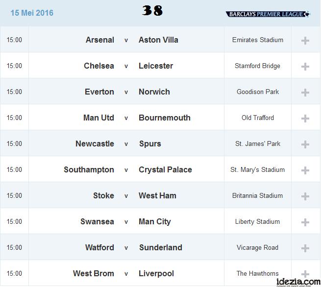 Jadwal Liga Inggris Pekan ke-38 15 Mei 2016