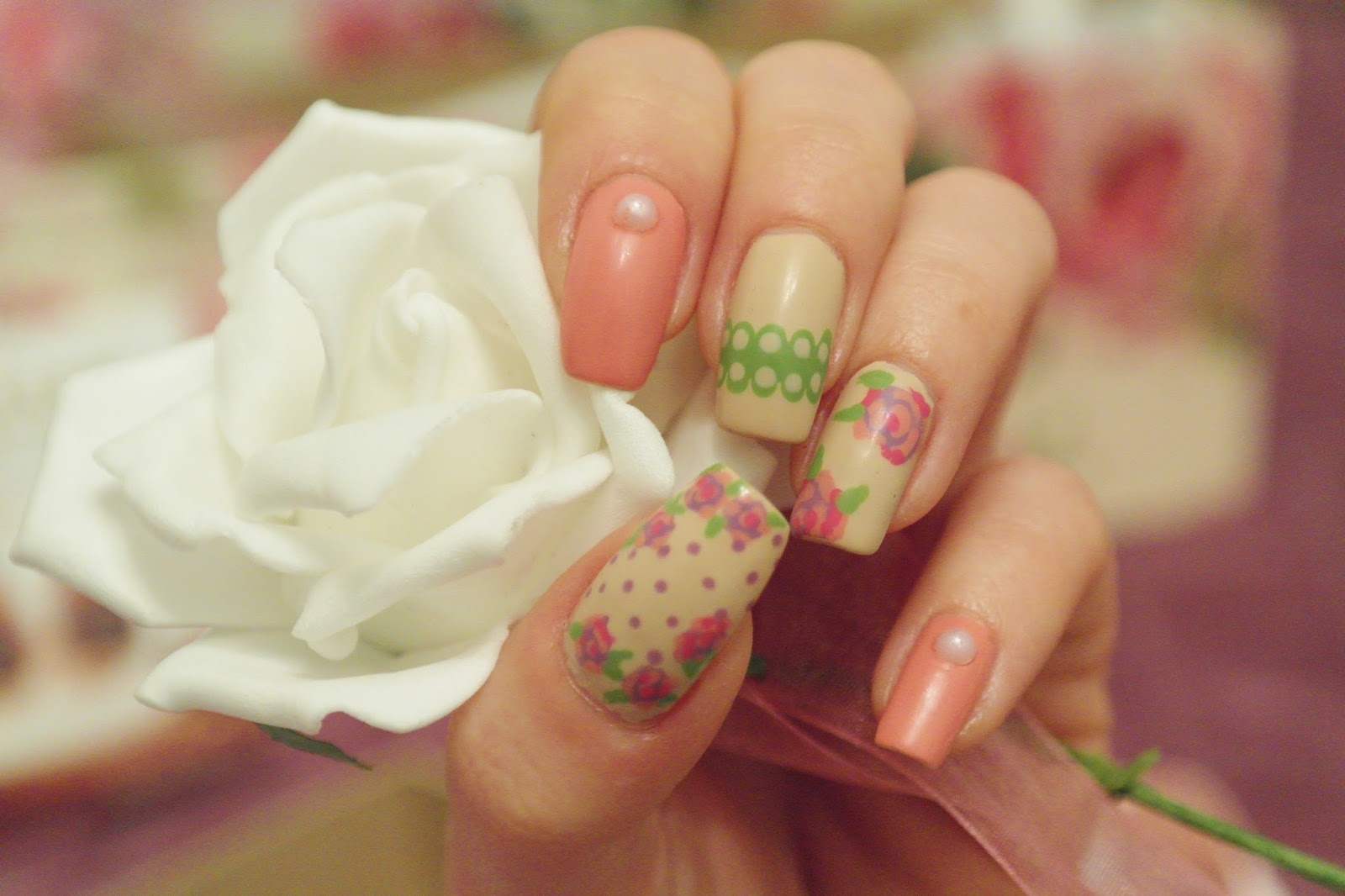 flower and lace nail art