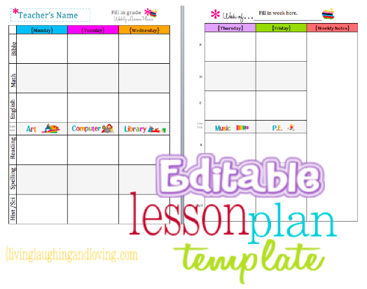Simplicity image inside free printable weekly lesson plan template