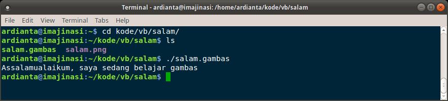 Menjalankan aplikasi console gamabas melalui terminal