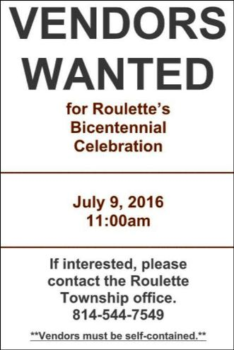 6-9 Vendors Wanted--Roulette Bicentennial