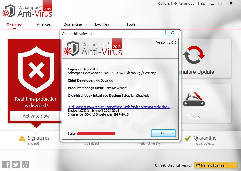 Ashampoo Anti-Virus 2016 1.3.0