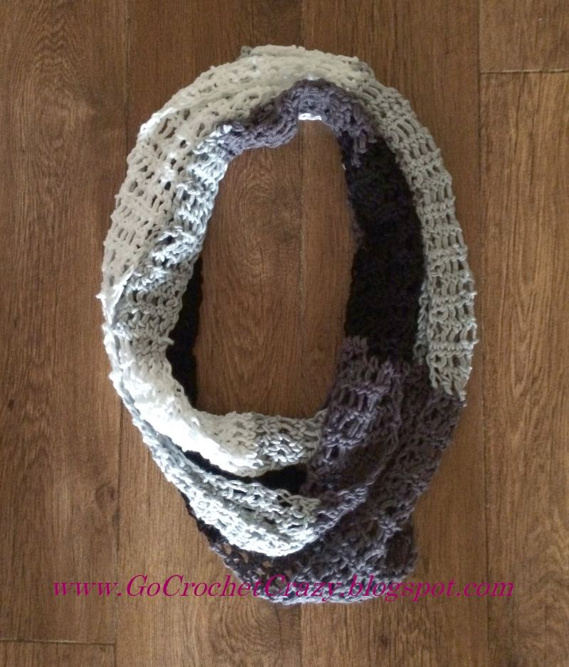 Variegated White, Black and Gray Cotton Infinity Scarf by Go Crochet Crazy