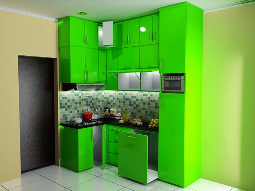 Kitchen set minimalis untuk dapur sempit jual kitchen for Kitchen set hijau