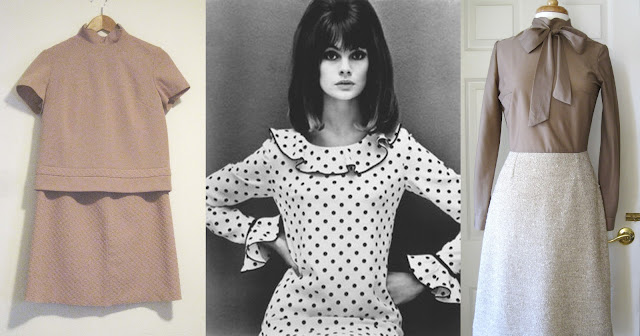 jean shrimpton + mary quant, mary quant dress, jean shrimpton wearing frilly dress, jean shrimpton wearing mary quant, frilly collar, pussy bow dress, 1960s two piece skirt suit