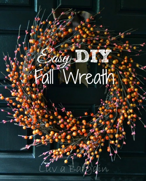 Easy DIY Fall Wreath, shared by Luv a Bargain
