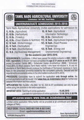 www.tnau.ac.in TNAU UG Admissions 2015 Online Application and Important Dates