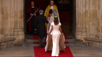 Catherine greeted by the clergy, Pippa's dress. YouTube 2011.
