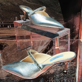 Prada jeweled metallic princess pumps.