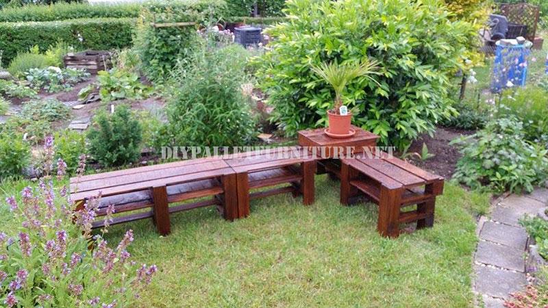 Mueblesdepaletsnet Banco esquinero para el jardín con palets