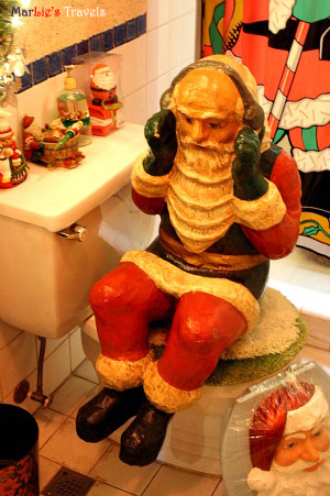 All The Items In Bathroom Had Santa Designs Like Shower Curtain Soap Dispenser Towel Holder And Toilet Seat Cover P