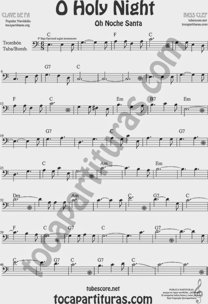 O Holy Night Partitura de Trombón, Tuba Elicón y Bombardino Sheet Music for Trombone, Tube, Euphonium Music Scores Oh Noche Santa