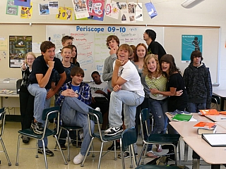 Students having fun in class unattended by a teacher