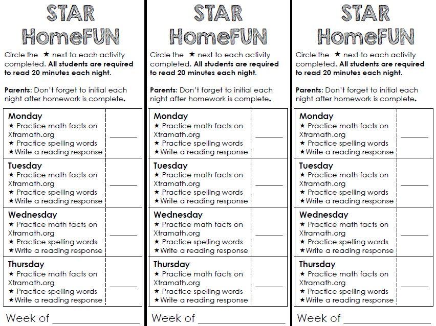 reading homework ideas first grade