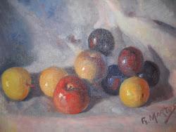Manzanas y ciruelas- Óleo del pintor jiennense Rufino Martos ( 1912-1993 )