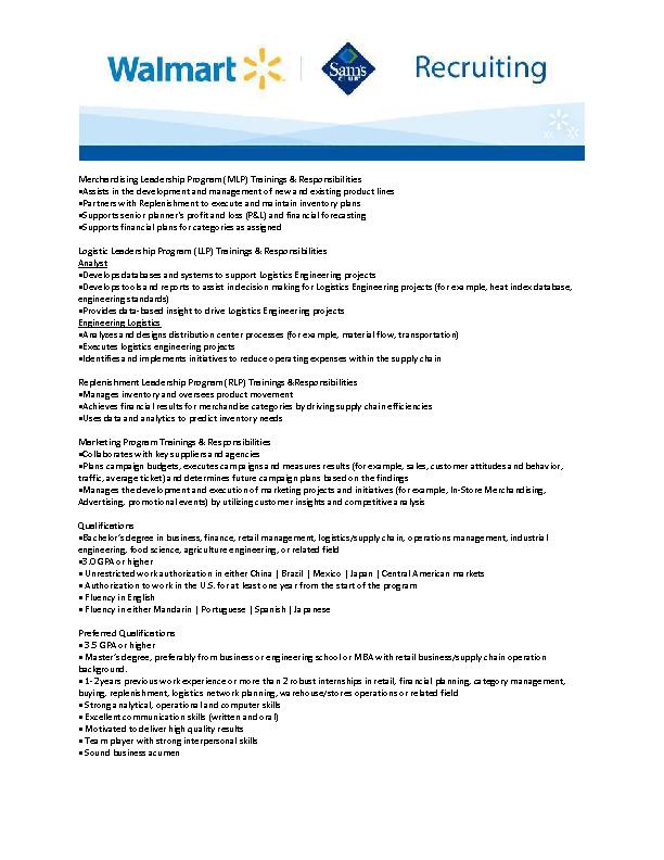 walmart job description international academy program trainee