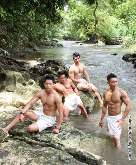 indonesian bodybuilder in river