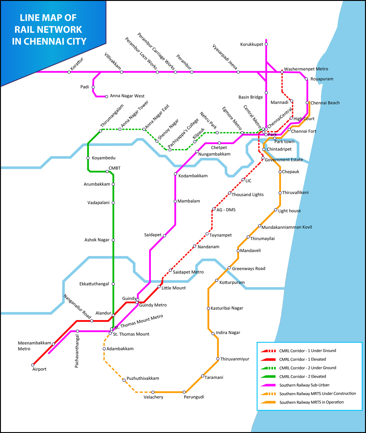 line map of rail network in chennai city