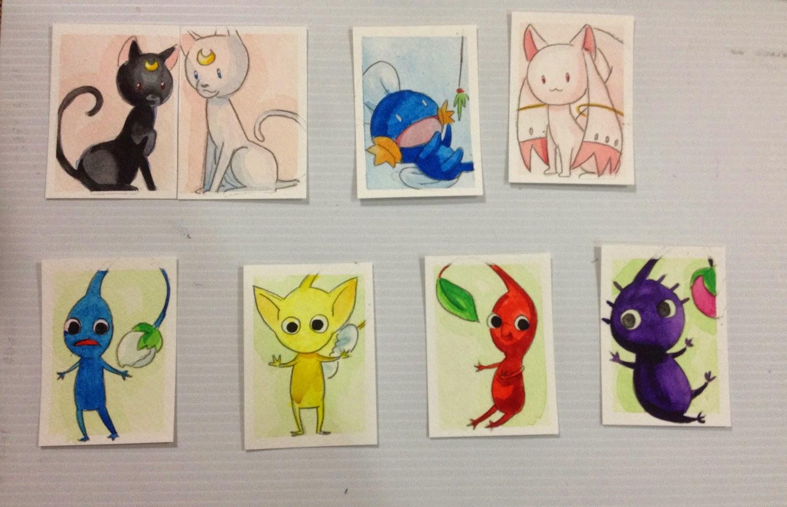 mini watercolors, GMX, Pikmin, Madoka, Kyubey, Luna and Artemis