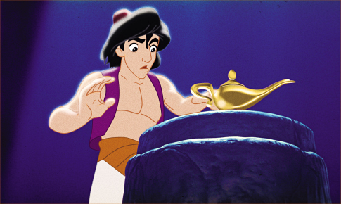 Aladdin finds the magic lantern in Aladdin 1992 http://animatedfilmreviews.blogspot.com/2012/12/aladdin-1992-king-of-genies.html