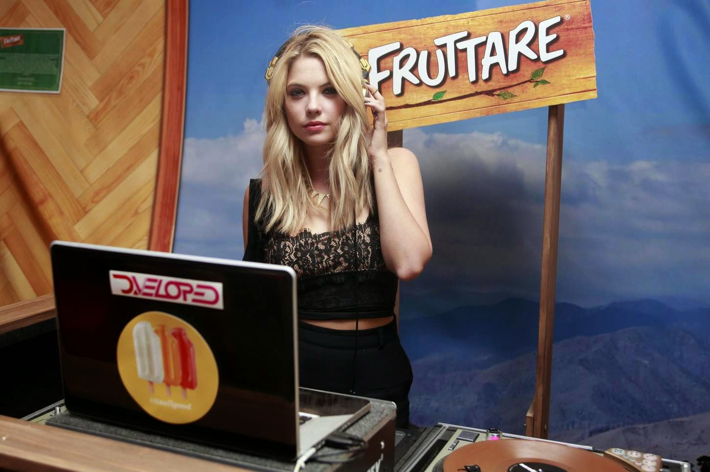 Ashley Benson sports all black outfit at the Fruttare Hangout at Coachella