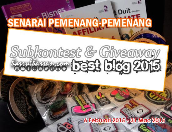 Senarai Pemenang Giveaway Subkontest Malaysia Best Blog 2015
