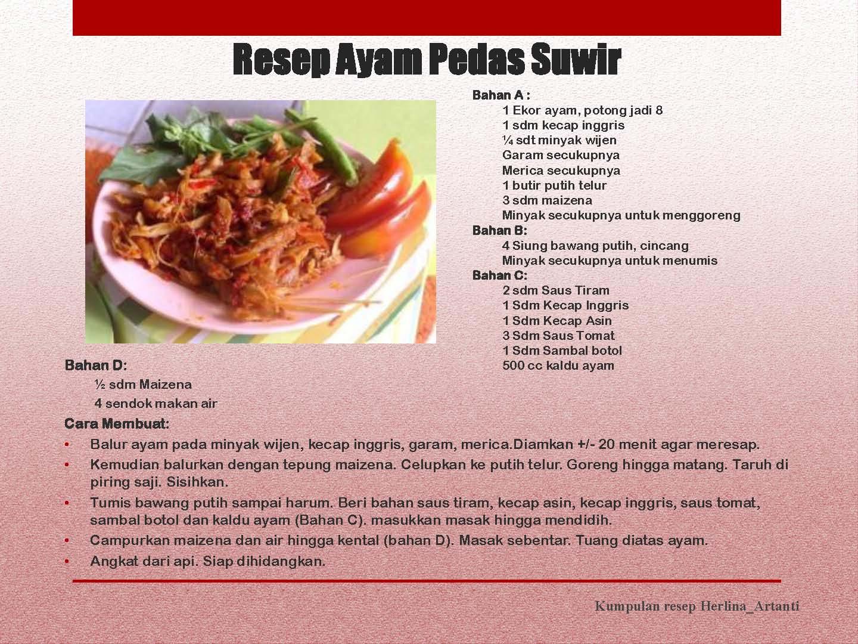 Resep Ayam Pedas Suwir