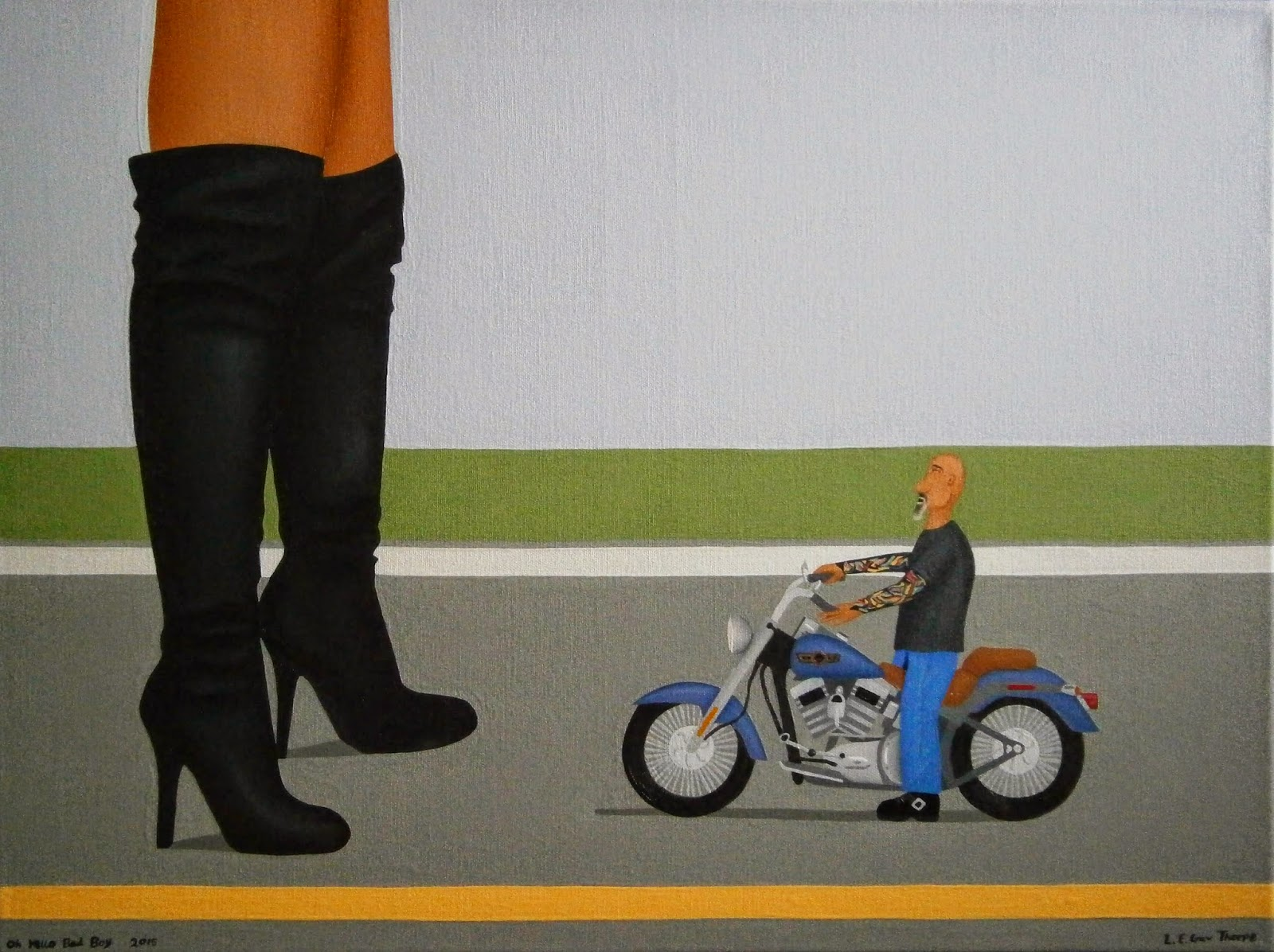 Oh Hello Bad Boy - A shrunken bald biker man, with full-sleeve tattoos, looking up at a giant woman wearing sexy stiletto thigh high biker boots and standing over his Harley Davidson motorbike