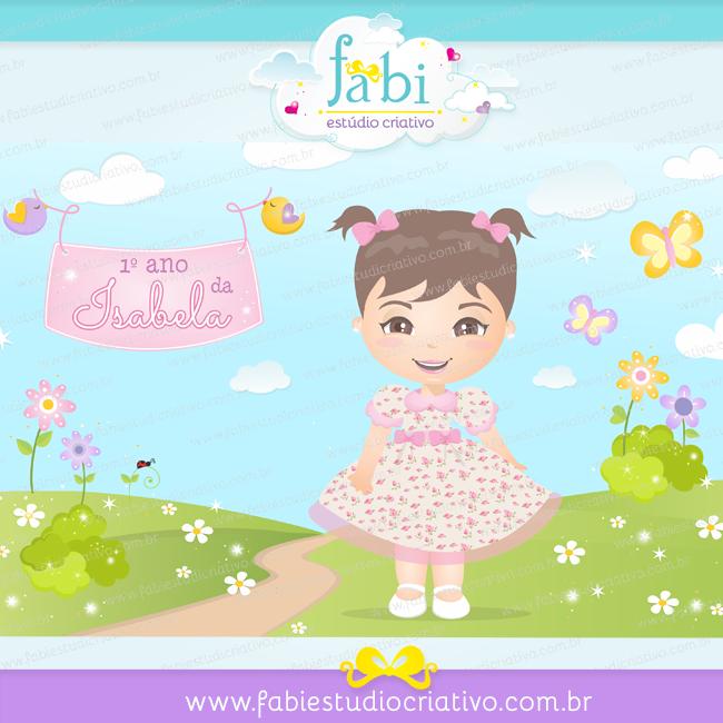 retrato ilustrado, mascote, bonequinha, desenho para aniversário, painel para aniversário.