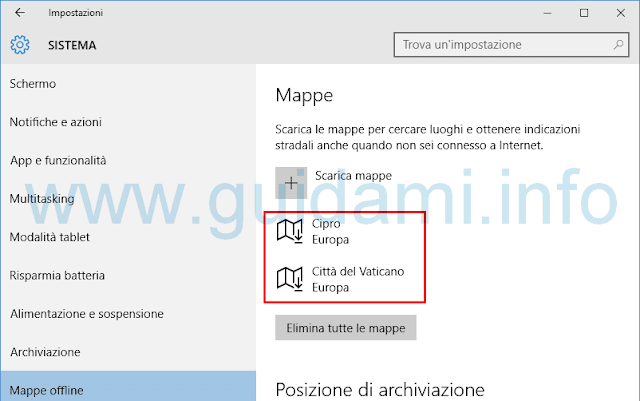 Windows 10 Mappe offline scaricate