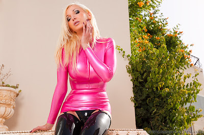 Susan Wayland Tight Shiny Burning Pink Latex Dress and Stockings