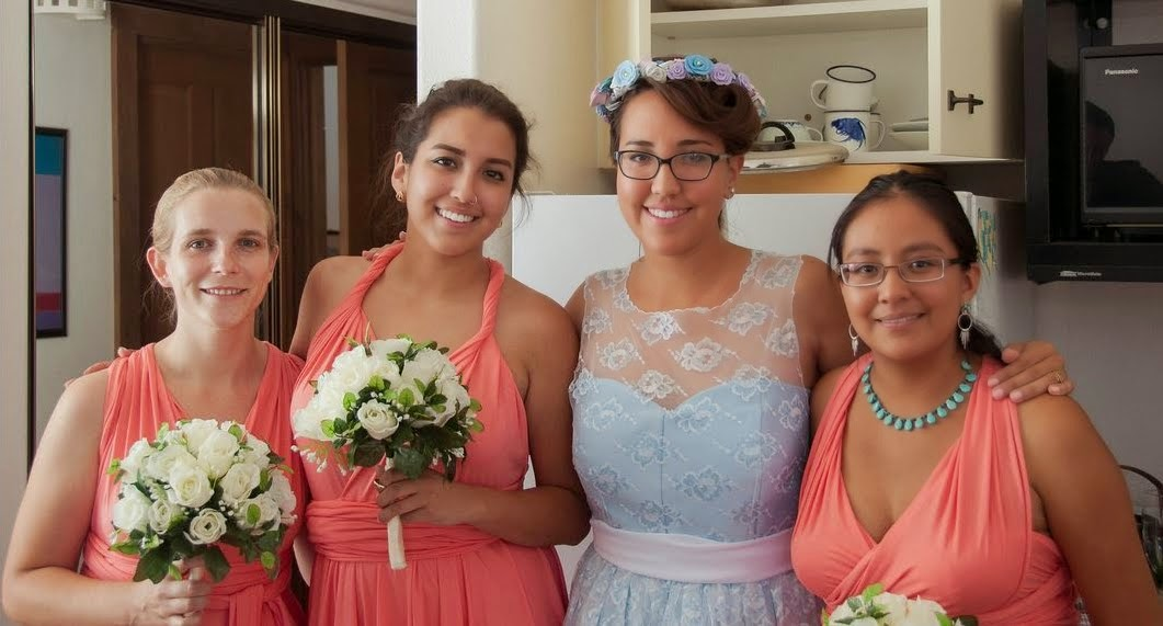 infinity dress bridesmaids before ceremony