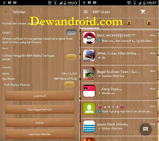 BBM Mod Versi Beta Base 2.9.0.0.1.217 Wood Theme ICS+