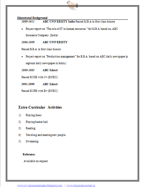 over 10000 cv and resume samples with free download  bba resume example
