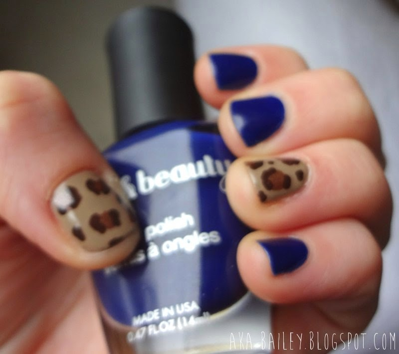 Navy nails with leopard print accent, Love & Beauty navy nail polish