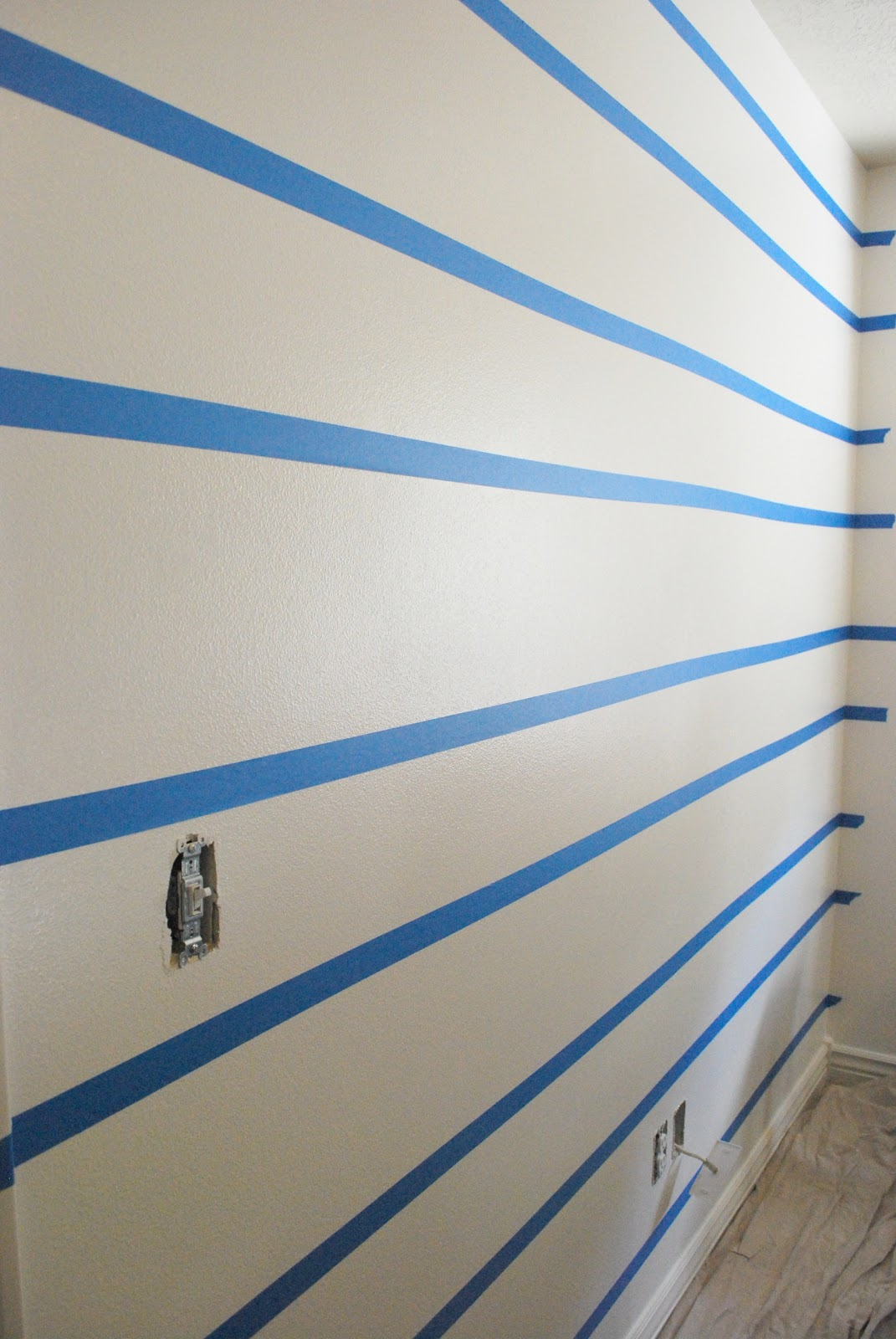 Striped Bedroom Paint The Shabby Nest Scotch Blue Painting Party A Striped Wall For