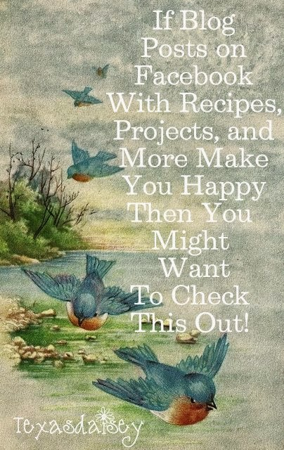 You might want to check this out if blog posts on facebook with recipes, projects and more make you happy