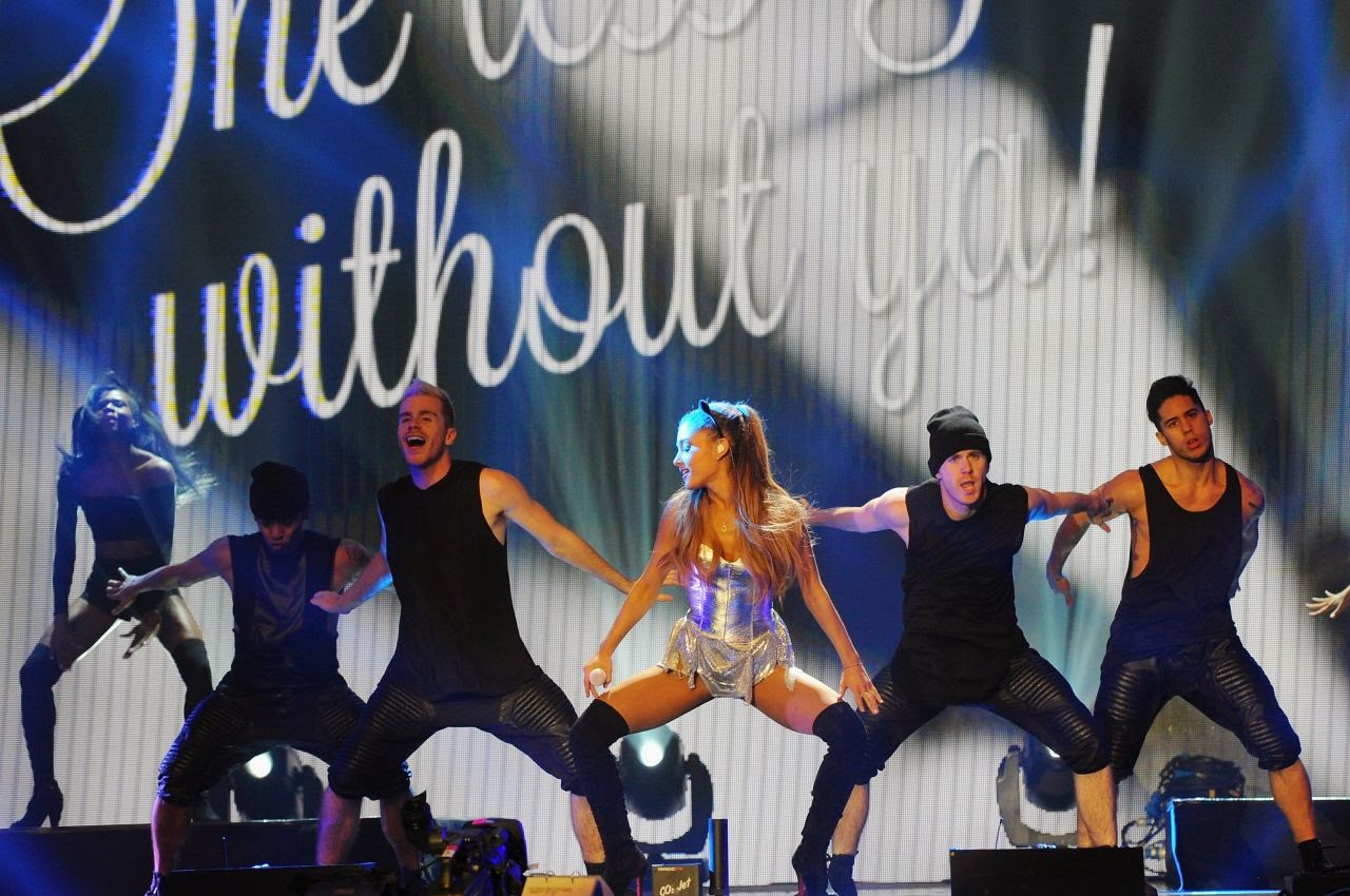 Ariana Grande wears skimpy silver dress for the 2014 BBC Radio One Teen Awards London performance