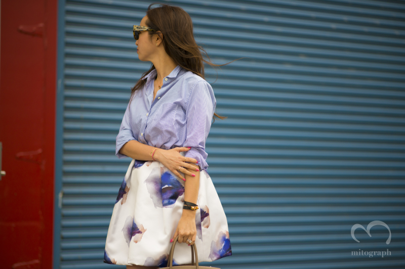 Aki Weng wears MSGM skirt and Hermes bag during New York Fashion Week 2015 Spring Summer NYFW