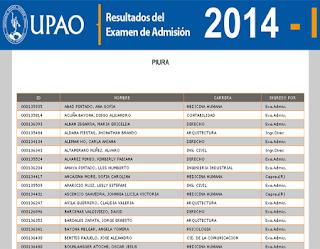 Resultados Examen de Admisión UPAO Piura 2014 I 14 de diciembre